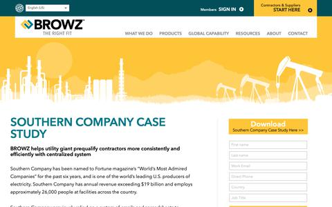 Screenshot of Case Studies Page browz.com - Southern Company Case Study - Contractor Management System - captured Sept. 29, 2018