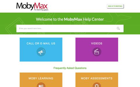 Screenshot of Support Page mobymax.com - Support : MobyMax Help Center - captured July 13, 2018