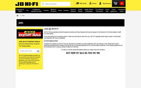 Screenshot of Jobs Page jbhifi.com.au - Jobs | JB Hi-Fi - captured July 26, 2018