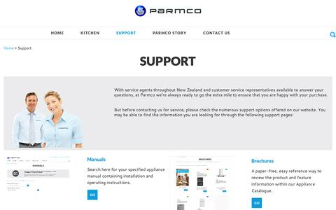 Screenshot of Support Page parmco.co.nz - Support - captured Sept. 27, 2018