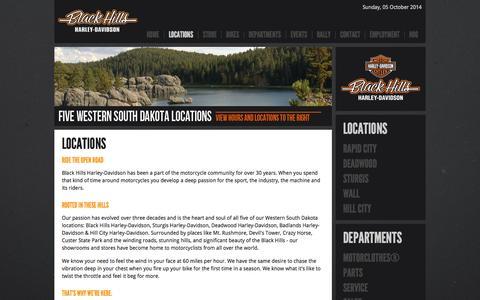 Screenshot of Locations Page blackhillshd.com - LocationsPages - captured Oct. 5, 2014