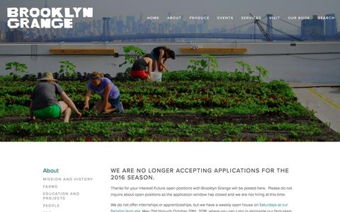 Screenshot of Jobs Page brooklyngrangefarm.com - Jobs — Brooklyn Grange - captured Sept. 5, 2016
