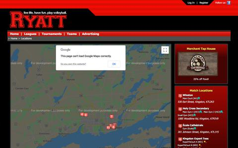 Screenshot of Locations Page ryatt.ca - Ryatt - Live Life. Have Fun. Play Volleyball. - captured Sept. 21, 2018