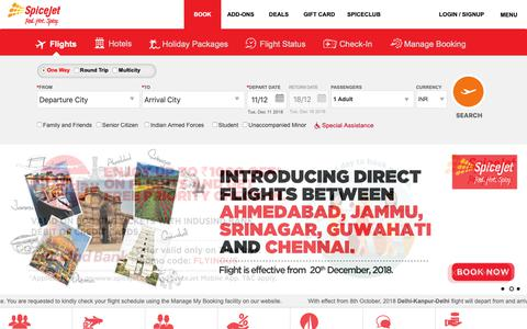 Screenshot of Home Page spicejet.com - SpiceJet - Flight Booking for Domestic and International, Cheap Air Tickets - captured Dec. 11, 2018