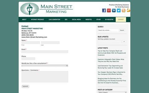 Screenshot of Contact Page main-street-marketing.com - Contact | main-street-marketing.com - captured Sept. 30, 2014