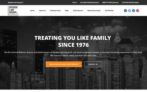 Screenshot of Home Page spodeklawgroup.com - Spodek Law Group - New York Divorce Lawyer - captured Feb. 27, 2016