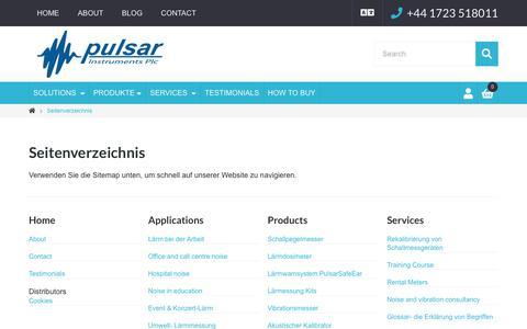 Screenshot of Site Map Page pulsarinstruments.com - Seitenverzeichnis | Pulsar Instruments - captured Oct. 24, 2018