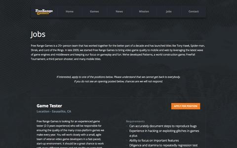 Screenshot of Jobs Page freerangegames.com - Jobs | Free Range Games - captured Sept. 30, 2014