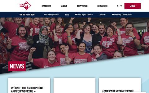 Screenshot of Press Page unitedvoicensw.org.au - News - captured Sept. 20, 2018