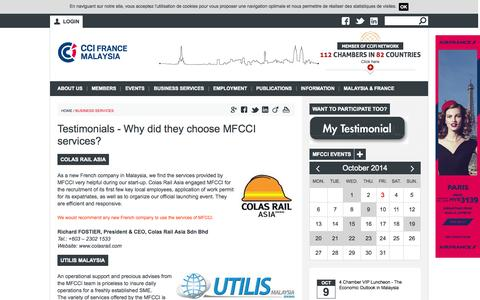 Screenshot of Testimonials Page mfcci.com - Testimonials - Why did they choose MFCCI services? | Malaysian French Chamber of Commerce and Industry - captured Oct. 3, 2014