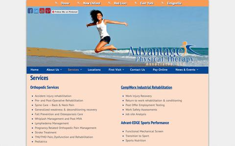 Screenshot of Services Page gettheadvantage.org - Services - Advantage Physical Therapy - captured Oct. 3, 2018