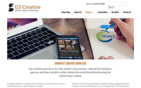 "Screenshot of Services Page g3creative.co.uk - <meta name=""description"" content=""G3 Creative graphic design services in Glasgow, Scotland.""/> - captured Jan. 24, 2016"