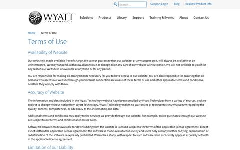 Screenshot of Terms Page wyatt.com - terms-of-use | home - captured Oct. 18, 2018