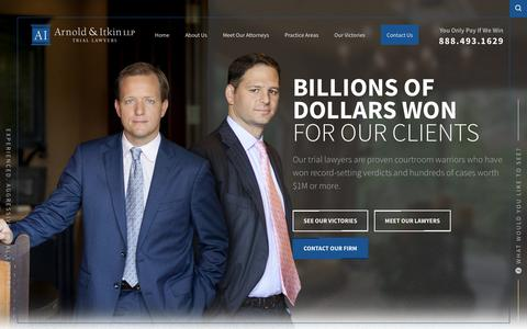 Screenshot of Home Page arnolditkin.com - Houston Personal Injury Lawyer | Arnold & Itkin LLP - captured Feb. 4, 2018