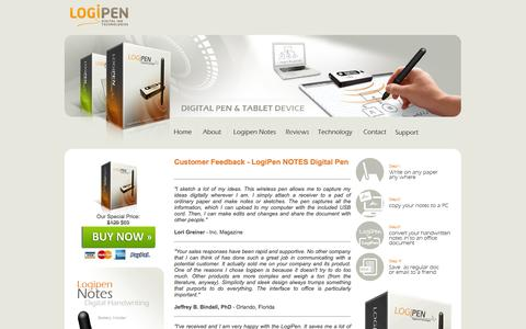 Screenshot of Testimonials Page logipen.com - Digital Tablet Pen - Logipen Notes - Testimonials - captured Sept. 30, 2014