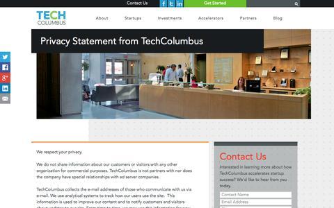 Screenshot of Privacy Page techcolumbus.org - Tech Columbus Privacy Policy | TechColumbus - captured Sept. 19, 2014
