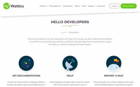Screenshot of Developers Page wattics.com - Developers - Wattics - captured Oct. 19, 2018