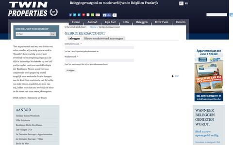 Screenshot of Login Page twinproperties.eu - Gebruikersaccount   TwinProperties - captured March 8, 2016