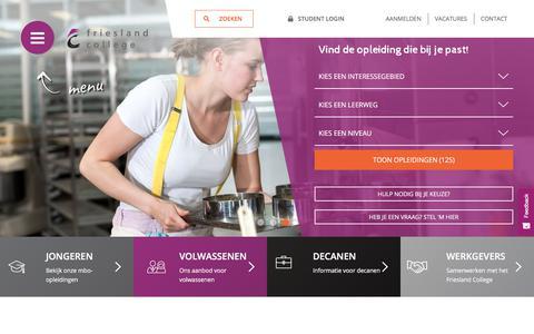 Screenshot of Home Page Site Map Page frieslandcollege.nl - Meer dan 120 mbo-opleidingen in Leeuwarden en Heerenveen | Friesland College - captured Aug. 30, 2018