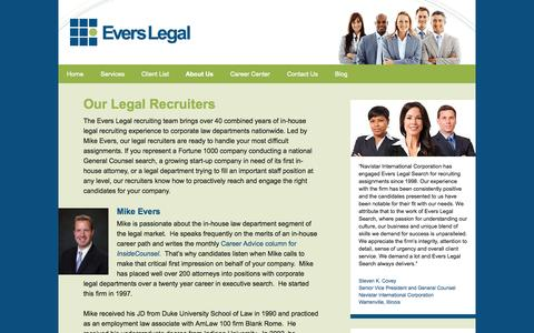 Screenshot of Team Page everslegal.com - Evers Legal Recruiting Team | Experienced Legal Recruiters General Counsel Placement Nationwide - captured Oct. 3, 2014