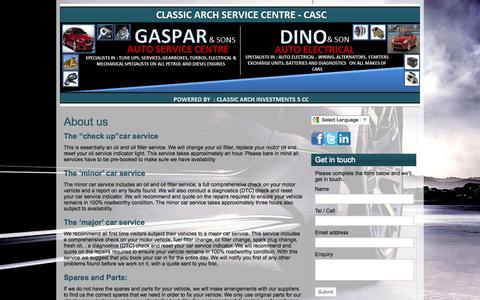 Screenshot of About Page casc.co.za - About us   CLASSIC ARCH INVESTMENTS - captured Oct. 2, 2014