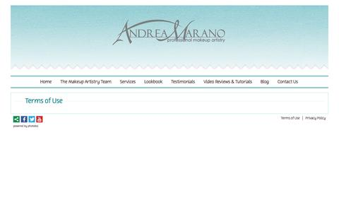 Screenshot of Terms Page andreamarano.com - Terms of Use - Andrea Marano Professional Makeup Artistry - captured Oct. 1, 2014