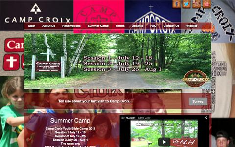 Screenshot of Home Page campcroix.org - Camp Croix WELS Youth Bible Camp Danbury WI - - captured Jan. 17, 2015
