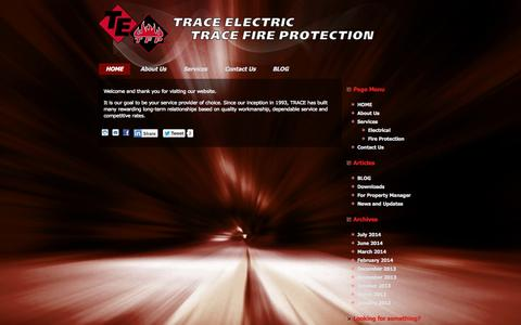 Screenshot of Home Page trace-electric.com - Trace Electric & Trace Fire Protection - captured Oct. 9, 2014