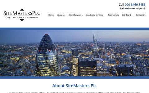 Screenshot of About Page sitemasters.plc.uk - Labour Recruitment Agency In London | SiteMasters PLC - captured Oct. 18, 2018