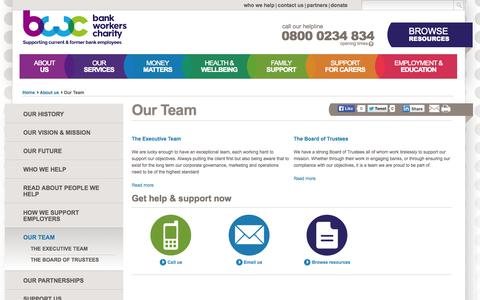 Screenshot of Team Page bwcharity.org.uk - | Bank Workers Charity - captured Oct. 5, 2014