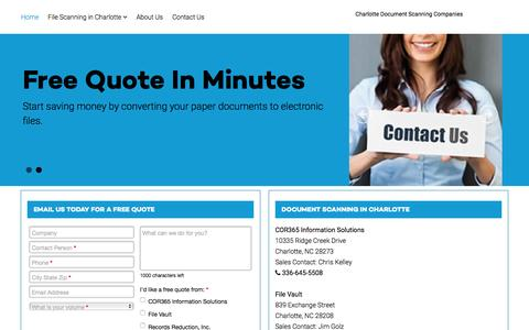Screenshot of Home Page documentscanning-charlotte.com - Document Scanning in Charlotte - Document Scanning in Charlotte - captured Feb. 9, 2016