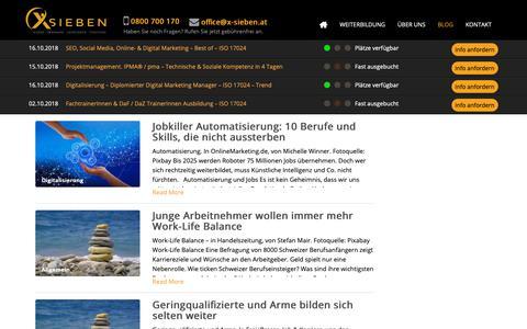 Screenshot of Blog x-sieben.at - X SIEBEN Wirtschaftstraining   Kurse - Seminare - Lehrgänge - Coaching - captured Oct. 1, 2018