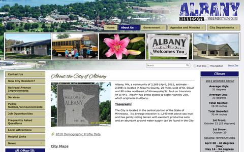 Screenshot of About Page albany.mn.us - About Us - CITY OF ALBANY Â - captured Oct. 4, 2014