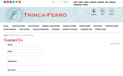 Screenshot of Contact Page trinca-ferro.com - Contact Us at Trinca Ferro Boutique - captured Oct. 20, 2018