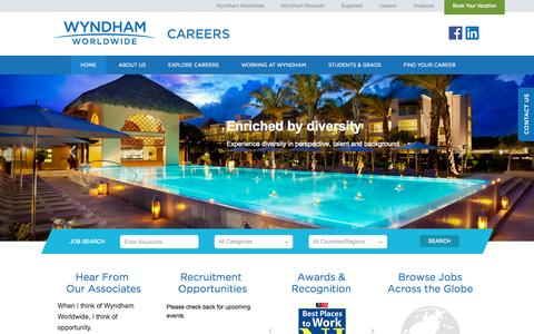 Screenshot of Jobs Page wyndhamworldwide.com - Wyndham Careers - captured Sept. 24, 2014