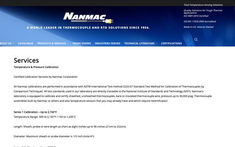 Screenshot of Services Page nanmac.com - Nanmac Services - captured Oct. 18, 2018
