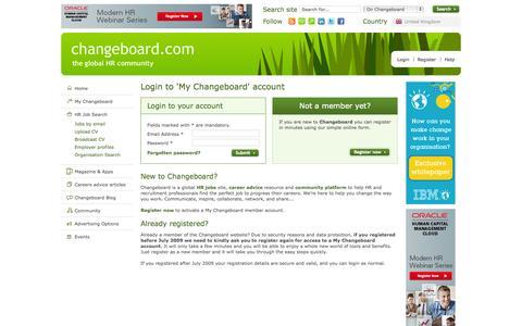 Screenshot of Login Page changeboard.com - HR Jobs: Search HR Jobs & Human Resources Jobs with Changeboard - captured Sept. 23, 2014