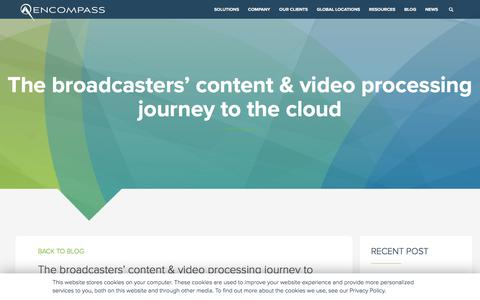 Screenshot of Blog encompass.tv - The broadcasters' content & video processing journey to the cloud - captured Jan. 21, 2020