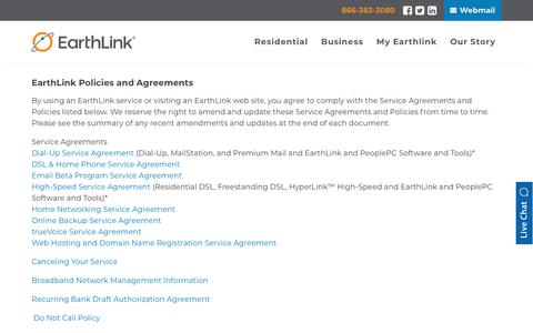 Screenshot of Terms Page earthlink.net - Earthlink Policies and Agreements | EarthLink - captured Nov. 14, 2019