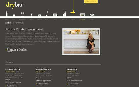 Screenshot of Locations Page thedrybar.com - Find A Drybar Location Near You - The Premier Blow Out Bar - captured July 19, 2014