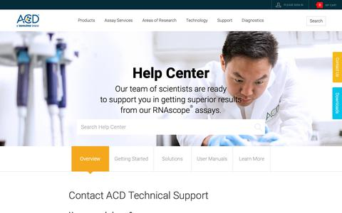 Screenshot of Support Page acdbio.com - In Situ Hybridization, Hybridization Assay | Support - captured Nov. 10, 2018