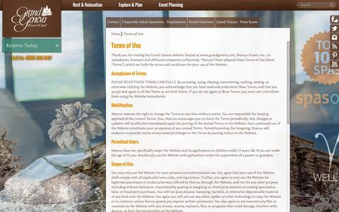 Screenshot of Terms Page grandgeneva.com - Terms of Use   Grand Geneva Resort and Spa - captured Jan. 31, 2016