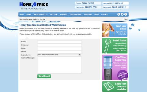 Screenshot of Trial Page home2officewatercoolers.co.uk - 6 months free rental on water cooler trial. - captured Oct. 1, 2014