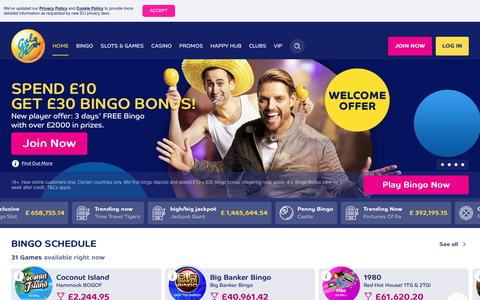 Screenshot of Home Page galabingo.com - Online Bingo | Spend £10, Get £30 Bonus | galabingo.com - Gala Bingo - captured May 27, 2019