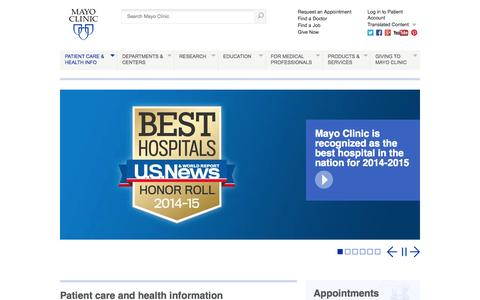 Screenshot of Home Page mayoclinic.org - Mayo Clinic - Mayo Clinic - captured Sept. 16, 2014