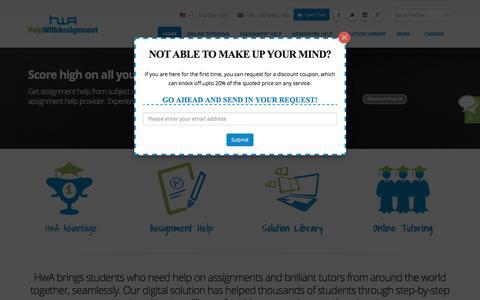 Screenshot of Home Page helpwithassignment.com - Assignment Help   Help with Assignment   College Homework Help - captured Nov. 7, 2016