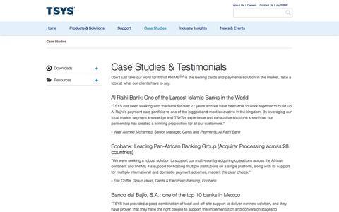 Screenshot of Case Studies Page tsysprime.com - TSYS PRIME Client Case Studies - captured Oct. 11, 2016