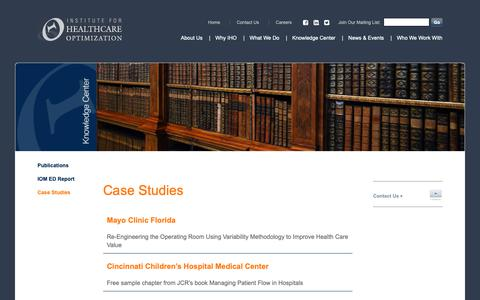 Screenshot of Case Studies Page ihoptimize.org - Case Studies - ihoptimize - captured Dec. 19, 2018