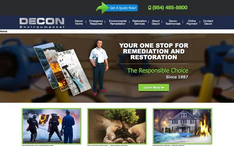 Screenshot of Home Page decon.com - Environmental Remediation in Florida | Restoration Service - captured Feb. 8, 2016