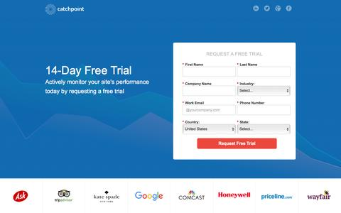 Screenshot of Trial Page catchpoint.com - Catchpoint Systems | Synthetic Monitoring Free Trial - captured Jan. 28, 2016